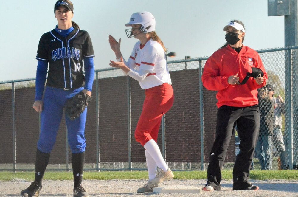 Emily Phillips after her two-run single vs. LC (5-5-21) 2.jpg